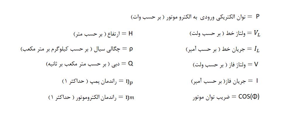 پارامترهای روابط ریاضی الکتروپمپ